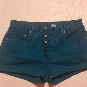 Levis 501 green shorts
